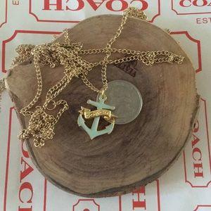 COACH anchor pendant enamel necklace